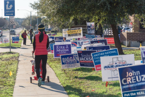 campaign signs at polling area
